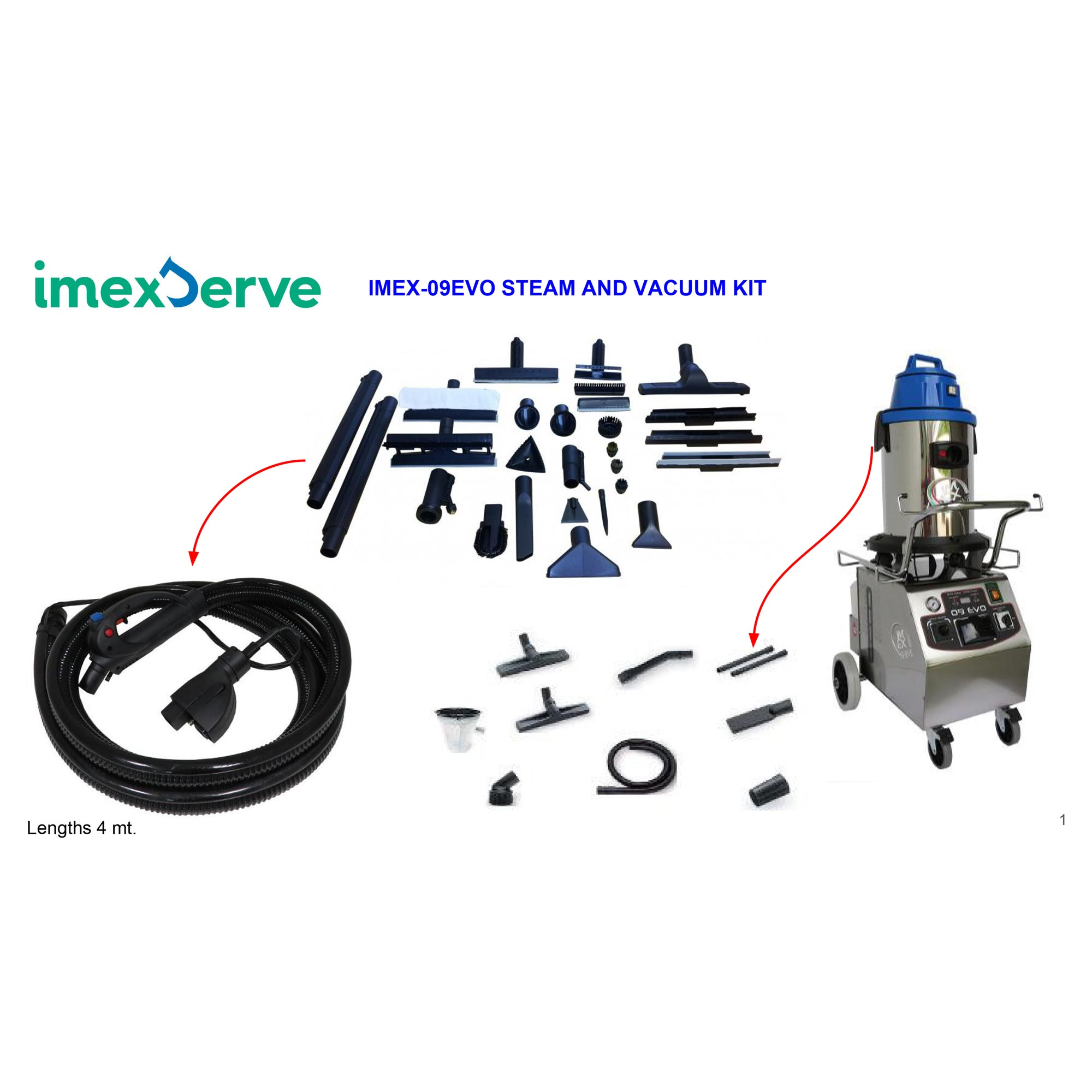 Imexserve 09Evo Steam and Vacuum Vapor Cleaner With Accessories 3400 ...