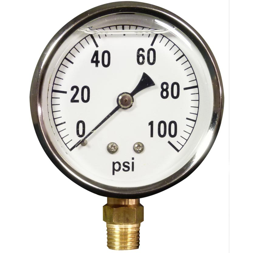 Pressure Gauge 100 Psi Stainless Steel Bottom Mount 8.710-270.0 Pumptec LFG-B-100  8.712-154.0 [87102700]