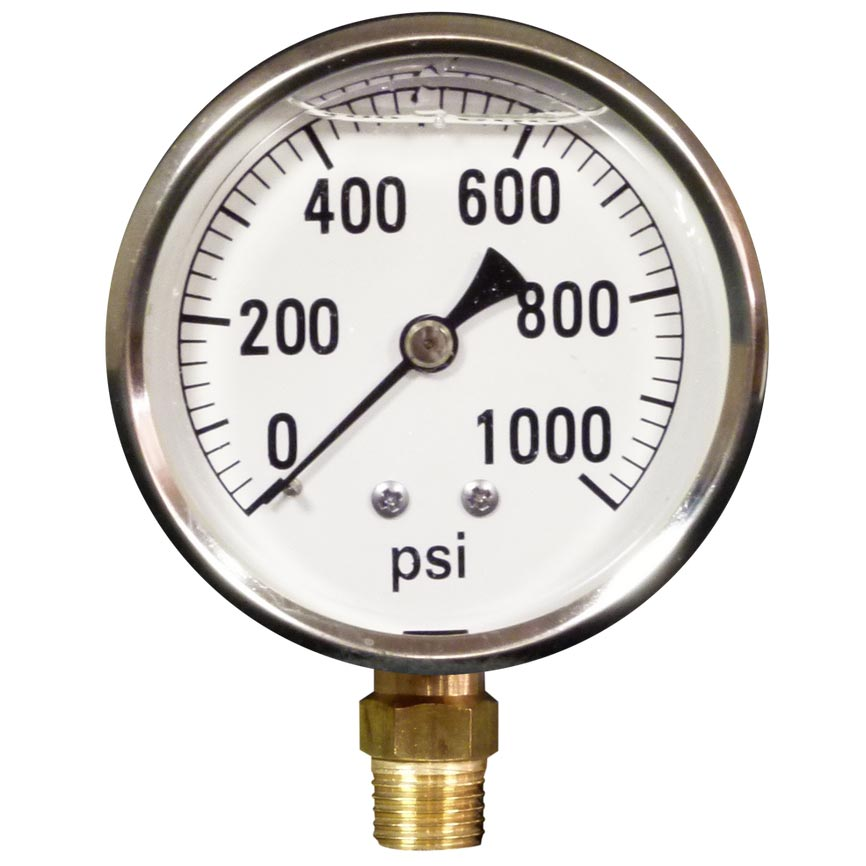 Pressure Gauge 1000 Psi Stainless Steel Bottom Mount 8.710-278.0 LFG-B-1000