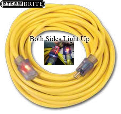 Extension Power Cord 12-3 25 feet Heavy duty Mytee E531 with Lighted Ends UPC 661899102178
