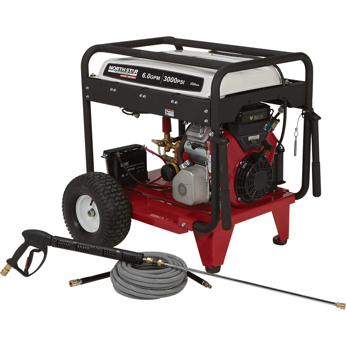 NorthStar Super High Flow Gas Cold Water Pressure Washer — 3000 PSI, 6.0 GPM, Electric Start, Belt Drive [1572082] Free Shipping