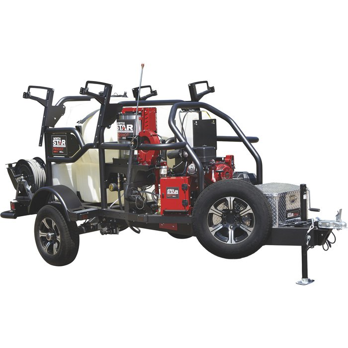 NorthStar 157561 ProShot Hot Water Commercial Pressure Washer Trailer — 3000 PSI 4.0 GPM Honda Engine— Freight included