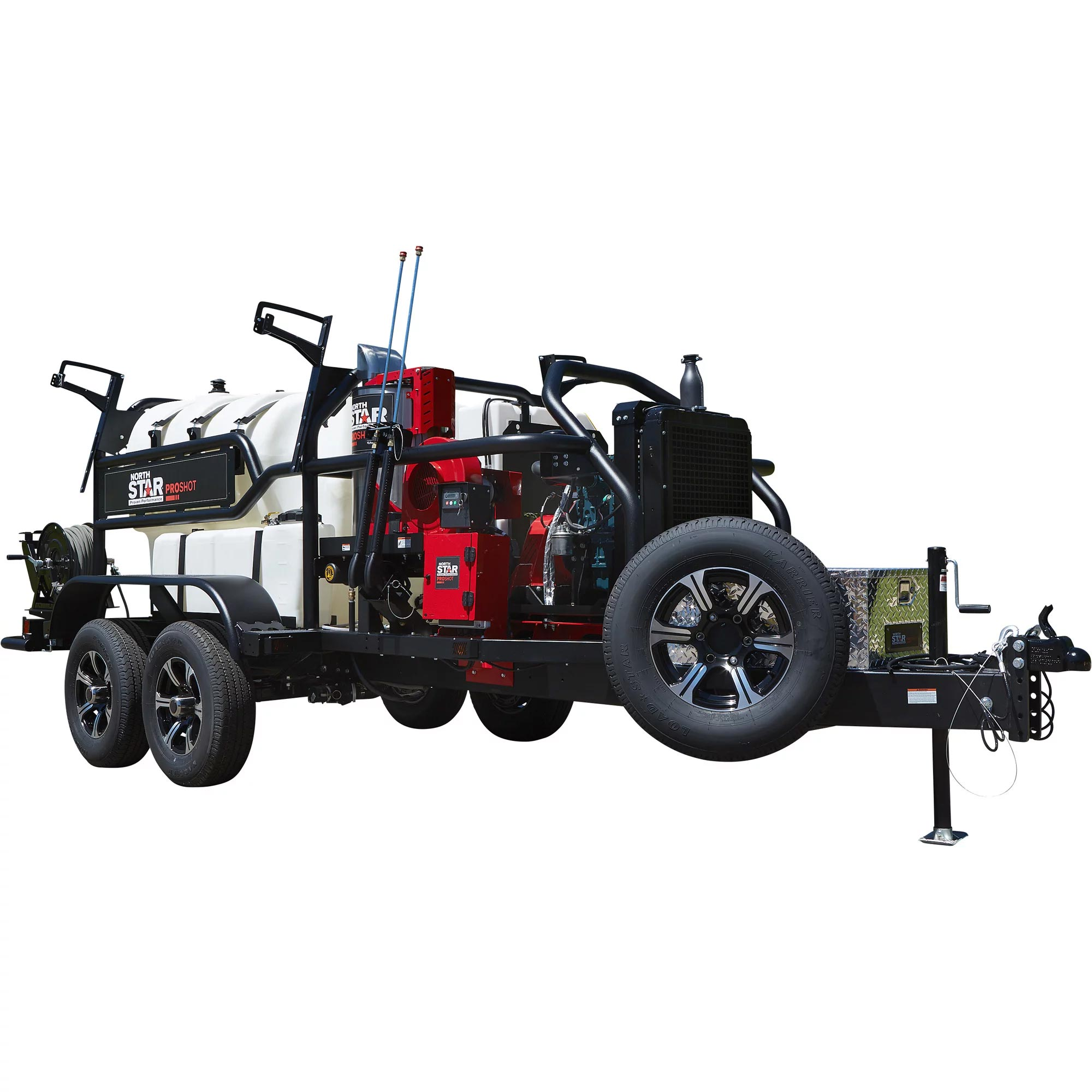 NorthStar 157574 ProShot Hot Water Commercial Pressure Washer Trailer — 3000 PSI, 8.0 GPM, 2 Spray Guns/Lances, Diesel Kubota Engine, 600-Gal. Water Tank