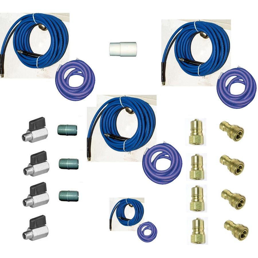 -Clean Storm Hose Set 165 ft (150 ft 2 in + 15 ft 1.5 in) Solution and Vacuum With Ball Valves