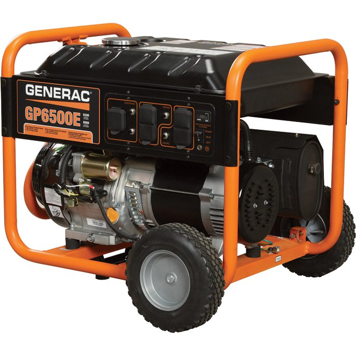 Generac GP6500E Portable Generator 8000 Surge Watts, 6500 Rated Watts, Electric Start 389cc 167220 - Free Shipping