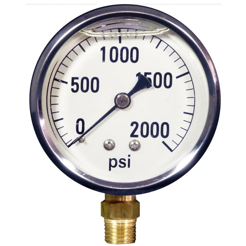 Pressure Gauge 2000 Psi Stainless Steel Bottom Mount 8.710-280.0  LFG-B-2000