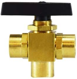 White Magic B142  1/4 Three Way Brass Ball Valve Panel Mount Ball 3 way 46956  701-4F4F4F-B