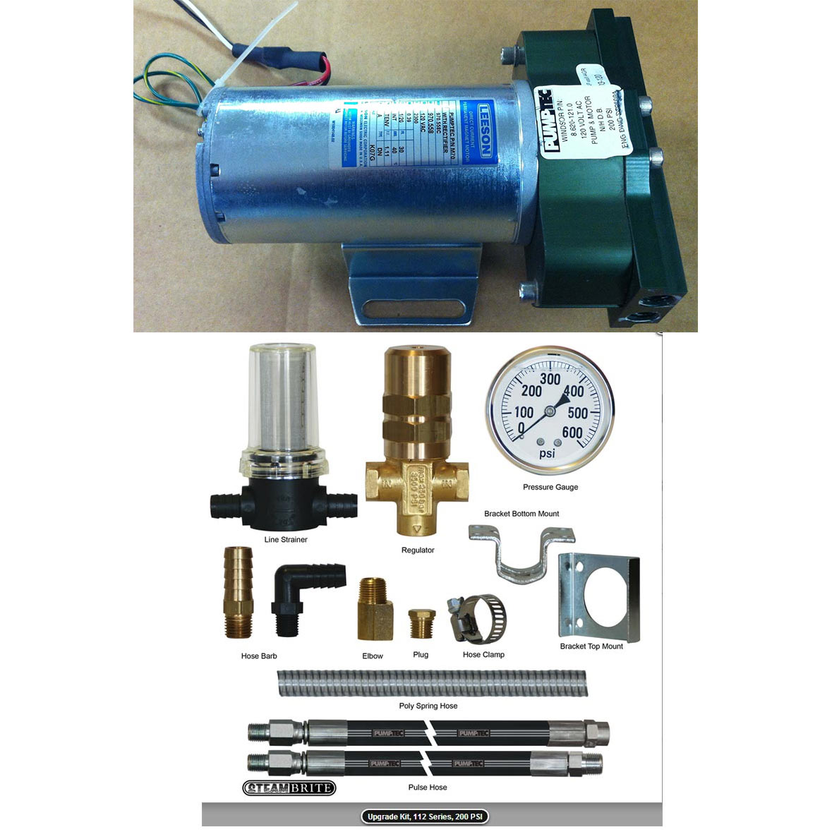 Pumptec 200psi 112V Pump w pressure regulator and gauge 120 Volt 20171027