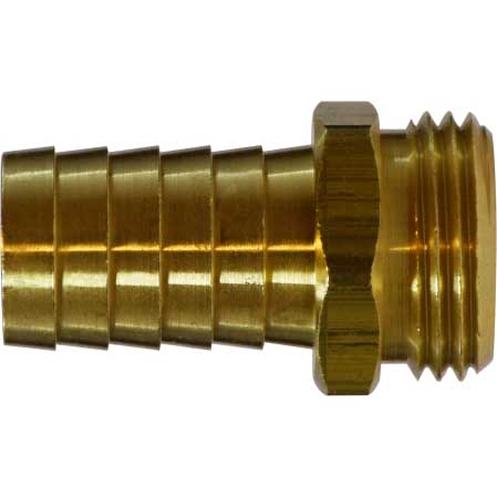 3/4 Male Garden Hose X 3/4in Barbed Brass 30042