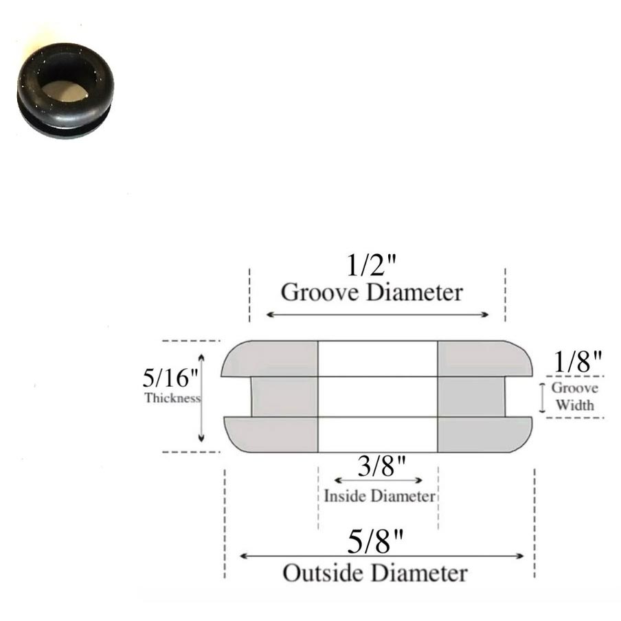Rubber Grommet 3/8 ID X 1/8 Panel Thickness X 1/2 Hole X 5/8 OD Each 20180614