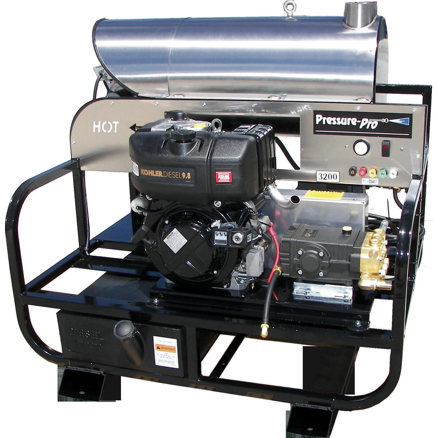 Pressure Pro 4012PRO-32KLDG Diesel Hot Water Skid 3200psi 4gpm Kohler Engine GP Pump Frieght Included