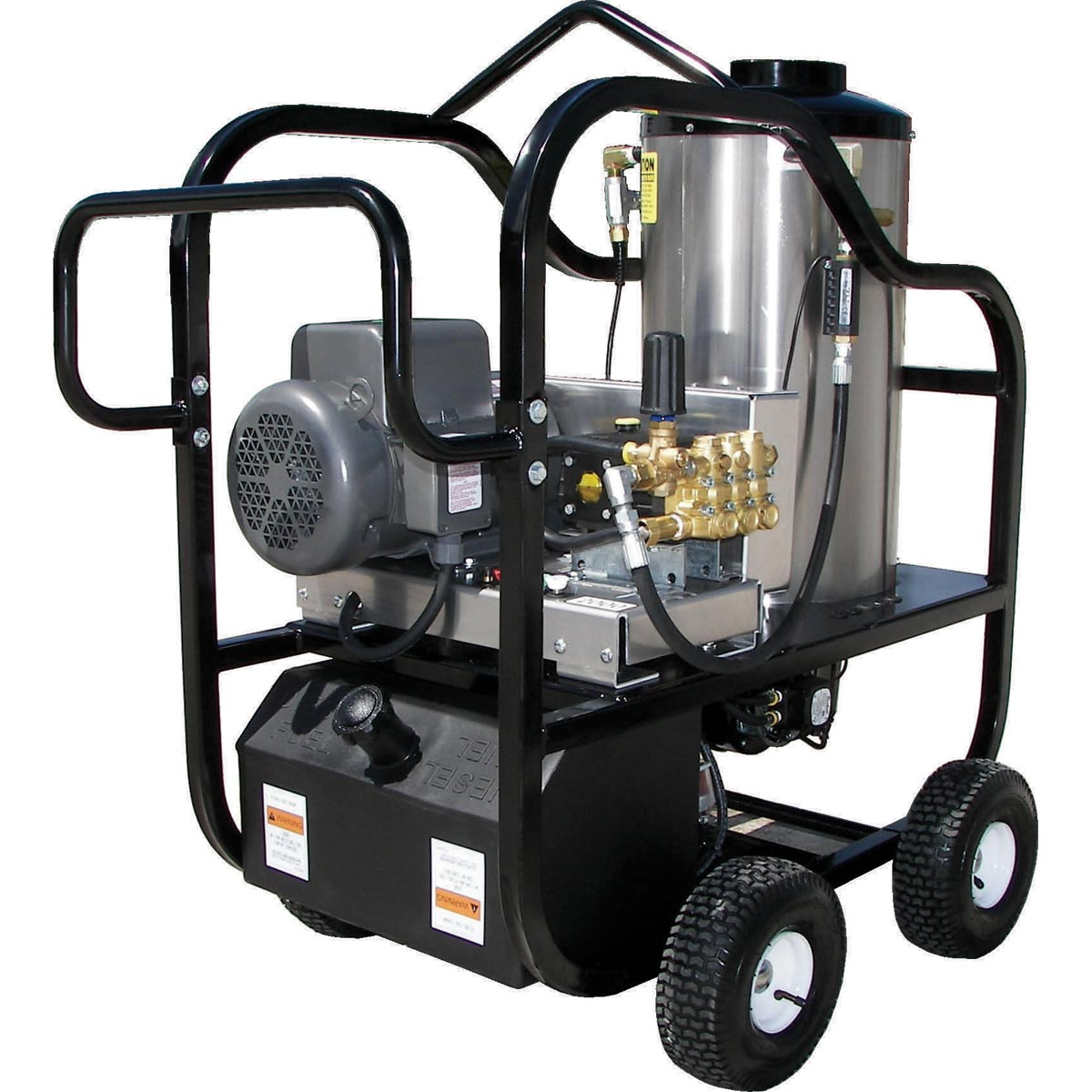 Pressure Pro 3230VB-25G1 3gpm 2500psi Electric Hot Pressure Washer With Portable Cart and Tank 5HP 25amp 230 volt