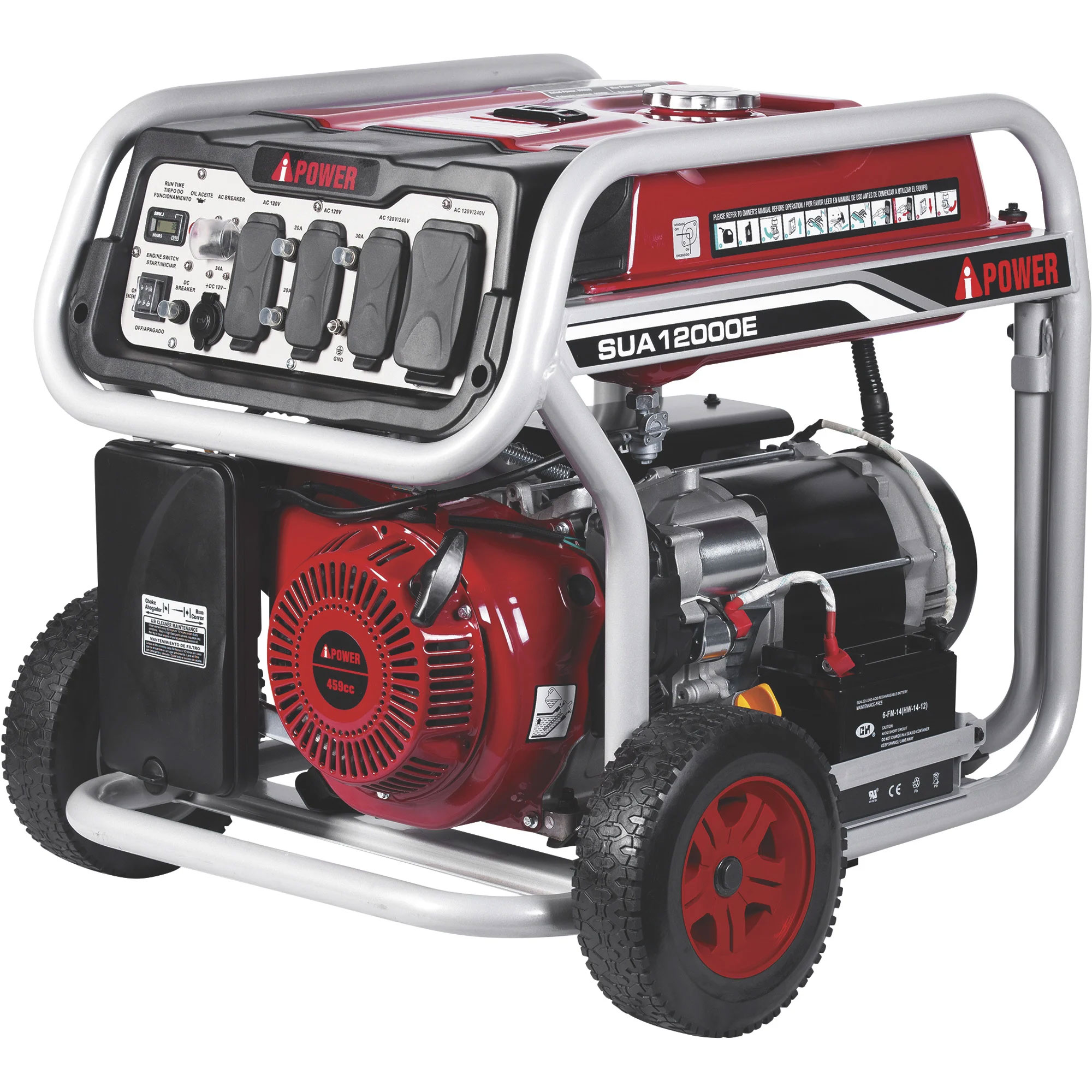 A-iPower Portable 459cc Generator 9000 Run 12000 Surge Electric Start SUA12000E 244007
