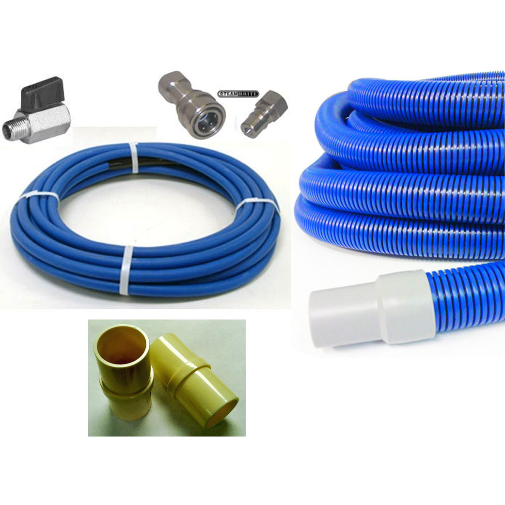 Carpet and Tile Cleaning Hose Set 50ft (15 Meters) x 2.0in ID Vacuum & 1/4 in Pro 4000 psi Solution Stainless QDs Ball Valve 20190111