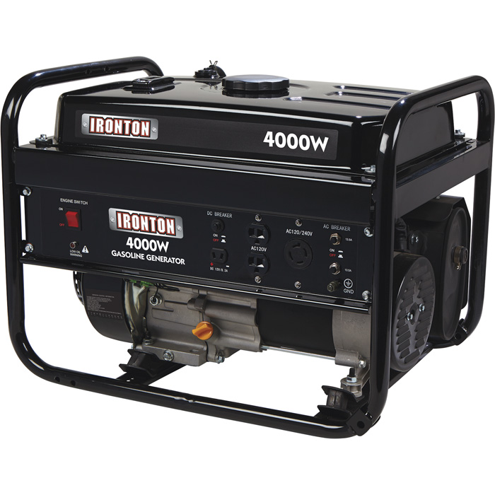 Ironton 504000 Portable Generator 208cc 4000 Surge Watts, 3200 Rated Watts Pull Start