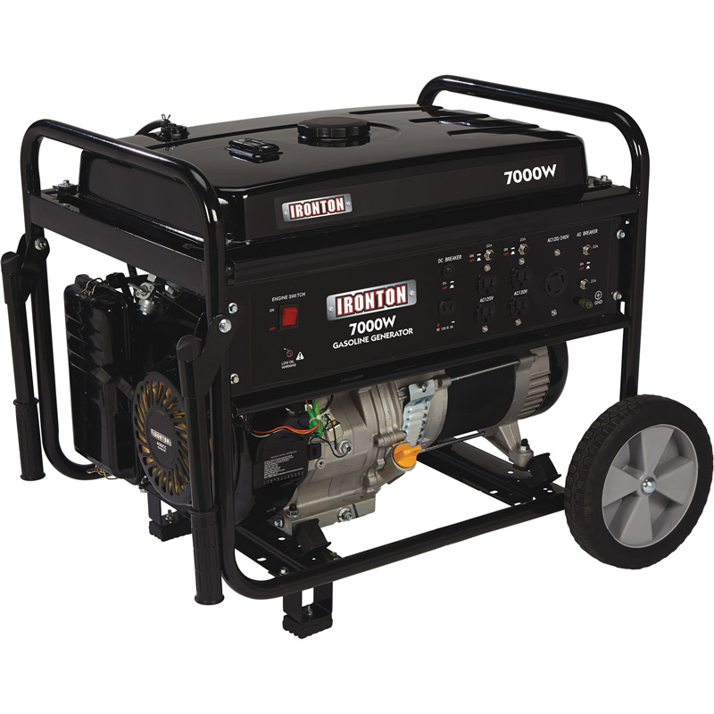Ironton 507000 Portable Generator with Wheel Kit - 420cc, 7000 Surge Watts, 5500 Rated Watts