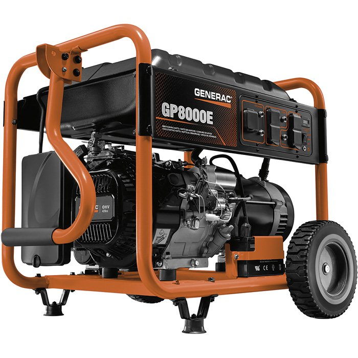Generac GP8000E: 10000 watt Electric Start Generator 8000 rated 420cc - 56182 - 6954