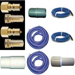 "-Clean Storm Hose Set 65 ft  (50 ft 2 in + 15 ft of 1.5""ID Vacuum & 1/4 in 3000 psi Solution) with Connections and QD's"