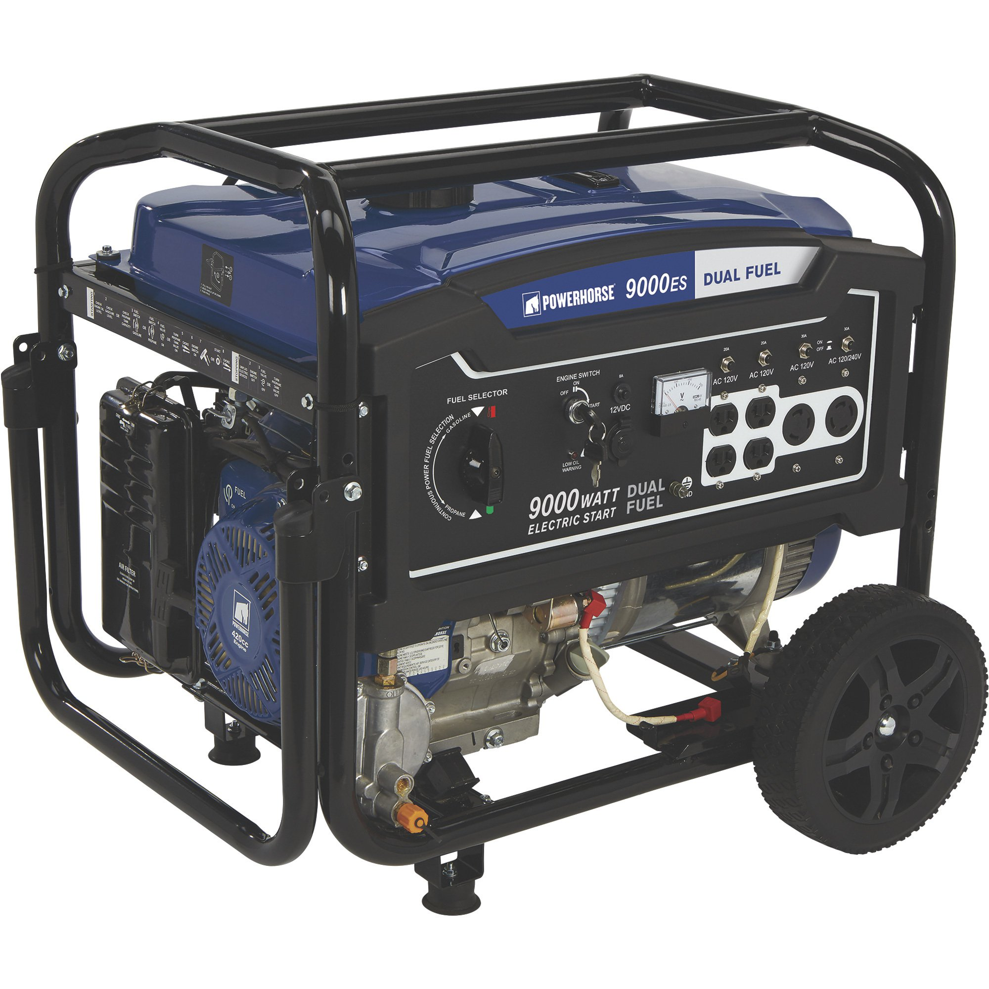 Powerhorse 750133 Dual Fuel Generator with Electric Start - 9,000 Surge Watts, 7,250 Rated Watts