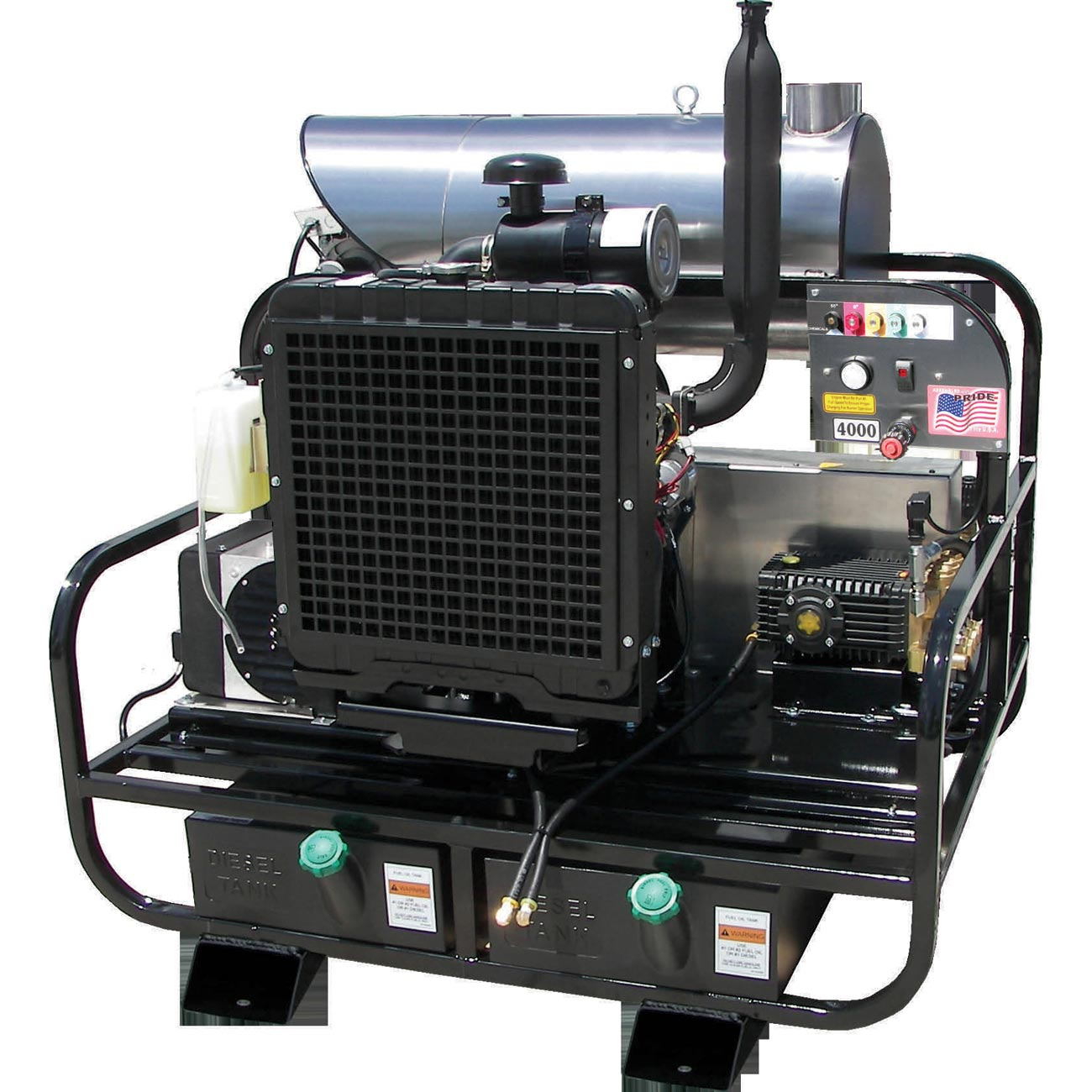 Pressure Pro 8115PRO-35KDG Diesel Hot Water Skid 3500 psi 8 gpm Kubota Engine General HP Pump Freight Included 2500 Watt Generator