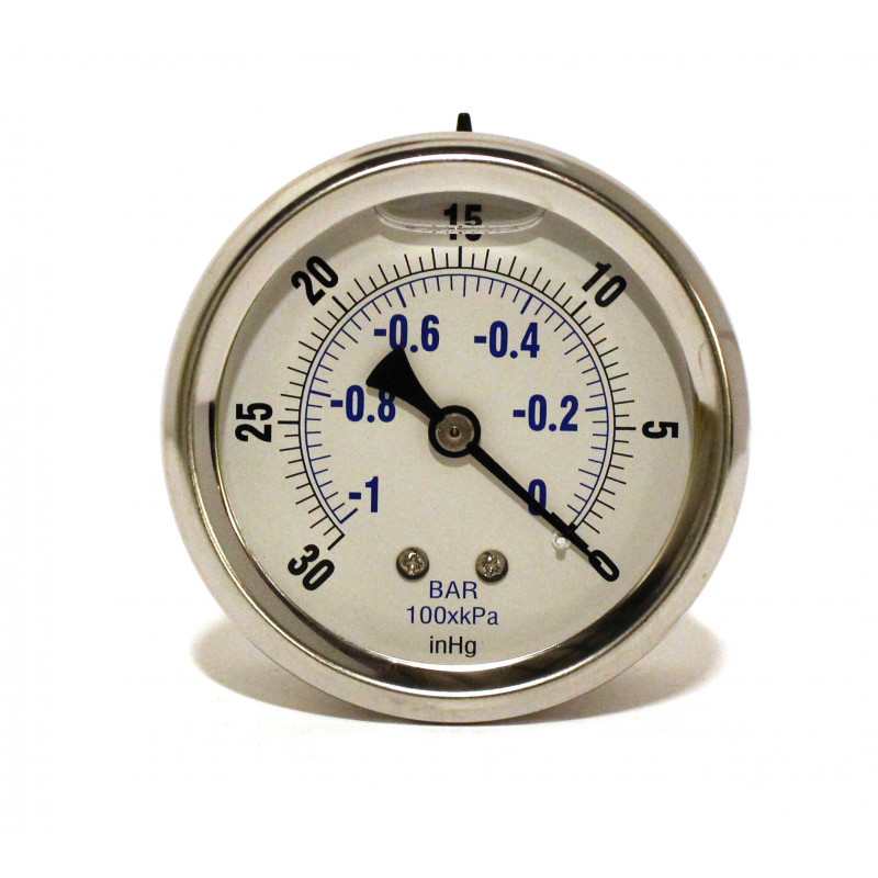 Vacuum Gauge, 0-30hg Stainless Steel Back Mount 8.710-246.0 [87102460]