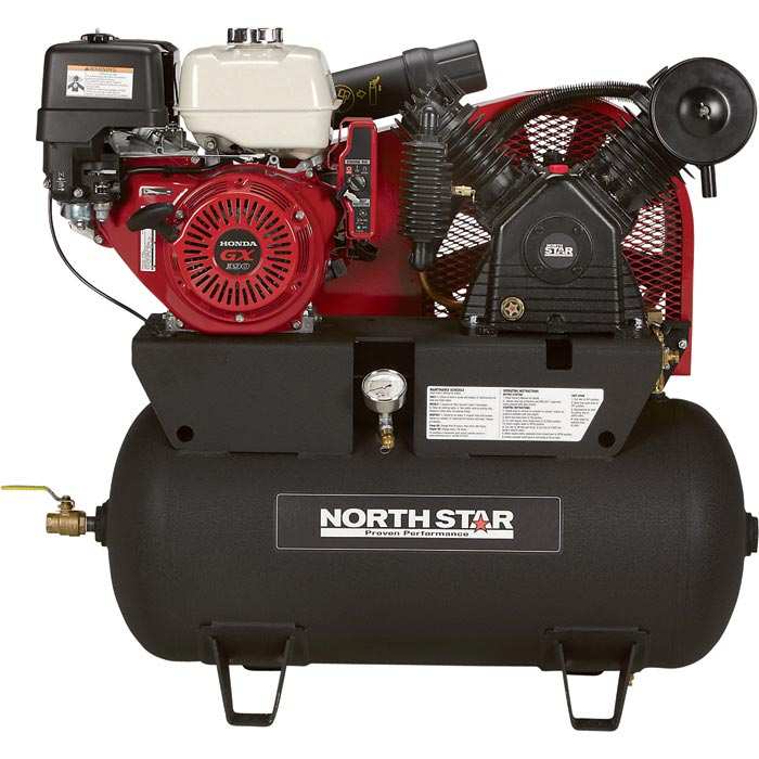 NorthStar 459382 Portable Gas-Powered Honda Air Compressor GX390  30-Gallon Horizontal Tank 24.4 CFM @ 90 PSI FREE Shipping