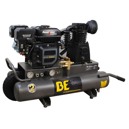 BE Pressure AC708RB 8 Gallon Wheeled Gas Air Compressor 13.8cfm 90psi