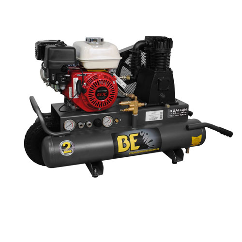 BE Pressure AC658HB 8 Gallon Wheeled Gas Compressor 13.8cfm 90psi 196cc Honda Engine