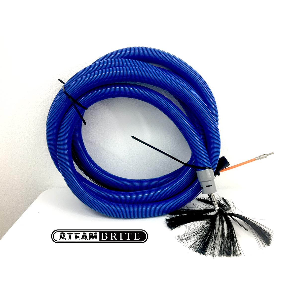 Clean Storm CE1959 Cable with 2 Inch X 33 ft Vac Hose Air Duct Cleaning Vacuum Hose 3/16 in Cable 18in Button Brush