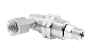 "Mosmatic 57.463 90° Swivel with bulkhead fitting, Carbide DYG-90° 3/8 in. NPT F G3/8"" M"