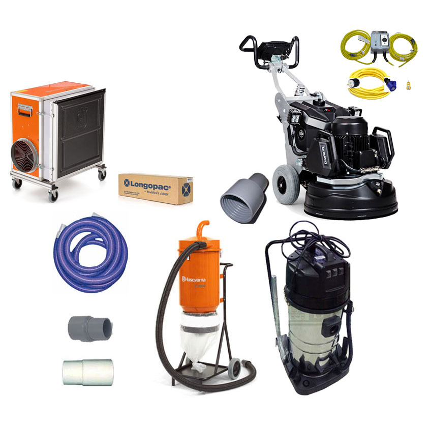 Husqvarna 967863601 HTC T5 Duratiq 5 Concrete Grinder Vacuum A2000 HEPA Freight Included Bundle 12947485 22.4 Inch 3Hp 240V 13Amp
