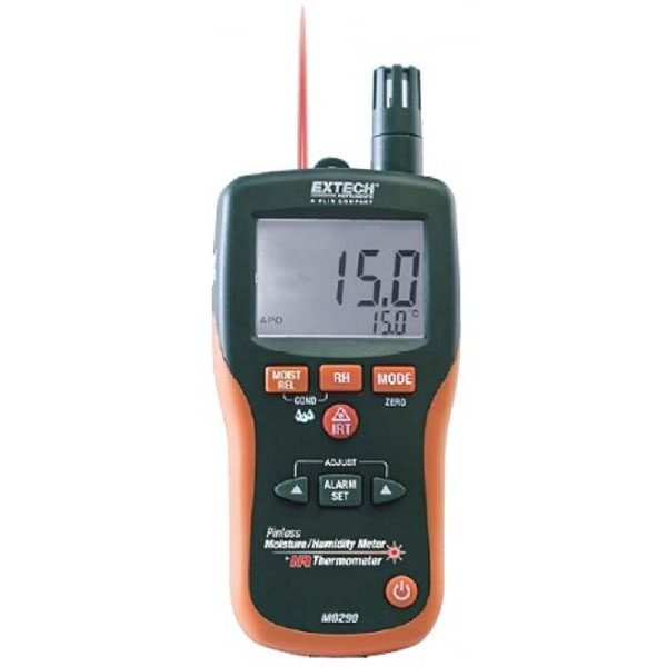 Extech Instruments MO290 Moisture Humidity Meter With Built In IR Thermometer-AC-127 Pin-less non-evasive feature AC127 A70280