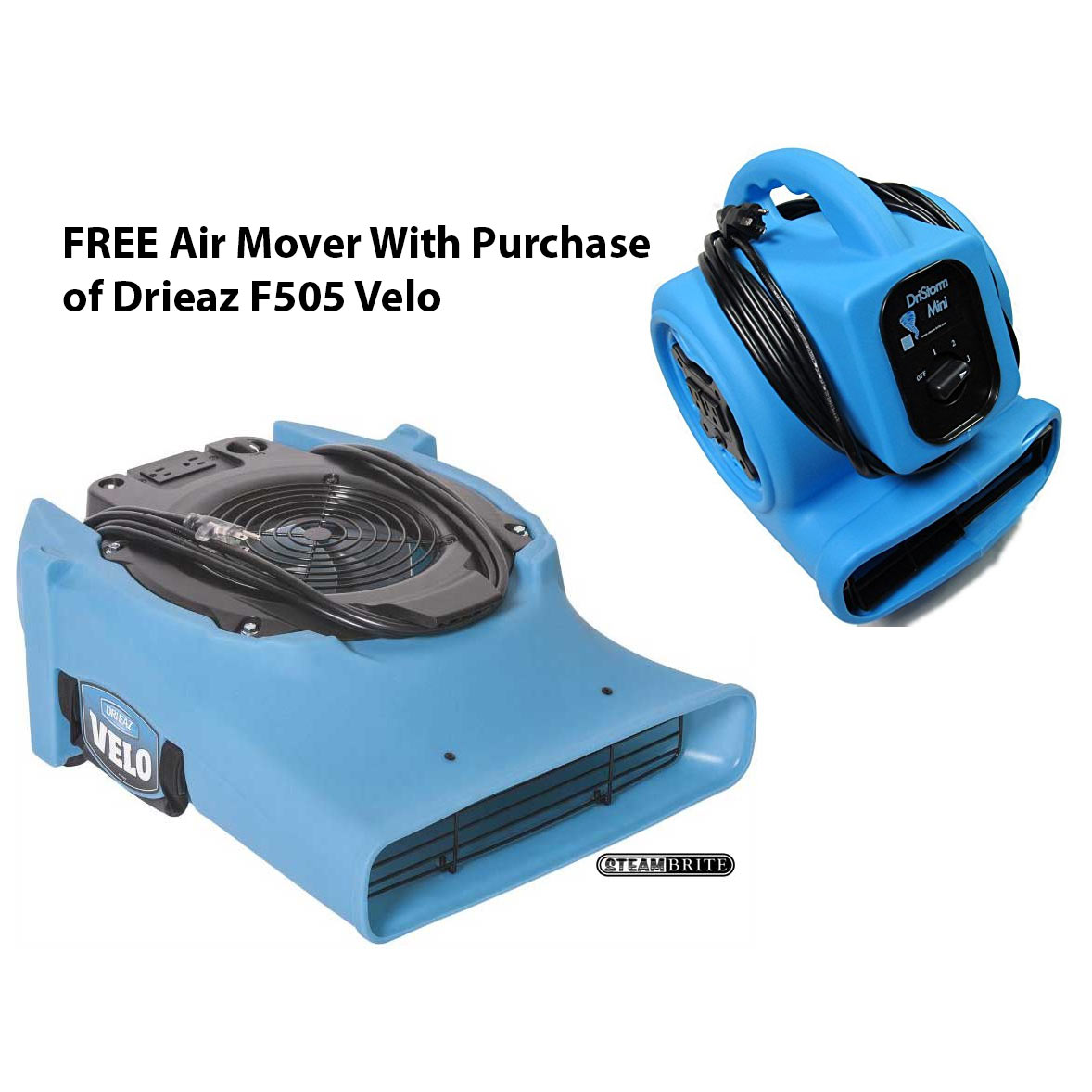 Drieaz F505 FREE Air Mover Offer W Purchase Velo Pro Low Profile Air Mover Variable Speed and Hour Meter AKA Velos