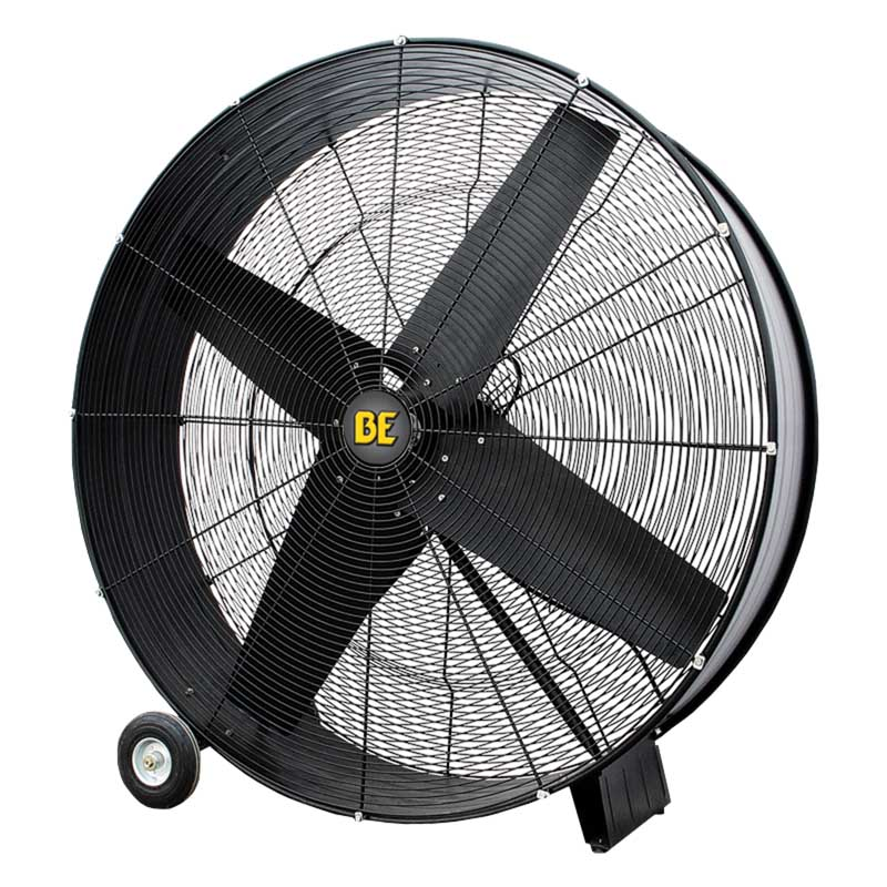BE Pressure FD48B 48in Belt Drive Drum Fan 19500 CFM W/ Wheels 2 Speed