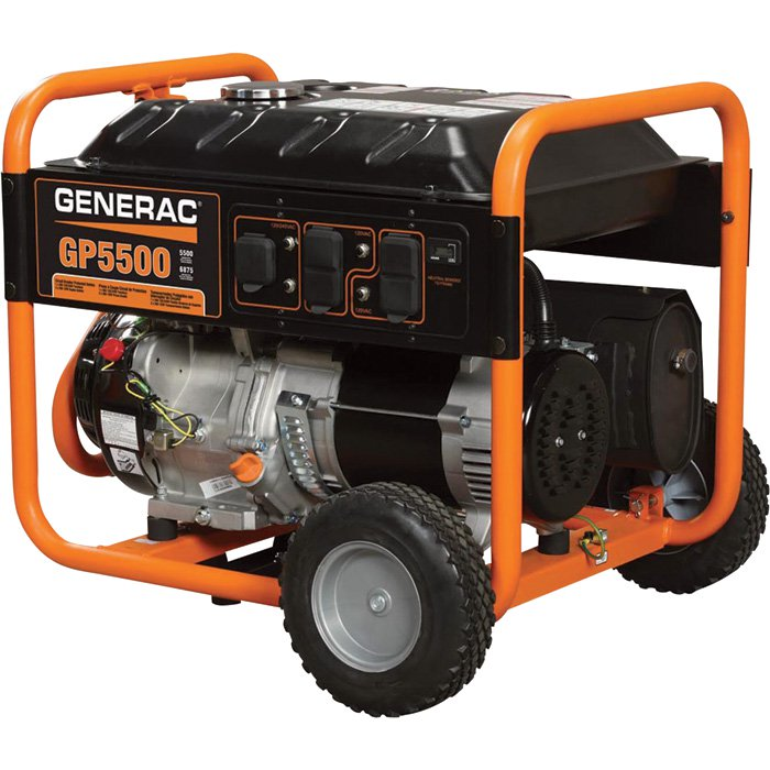 Generac GP5500 Portable Generator 6800 Surge Watts, 5500 Rated Watts, 389cc Generac OHVI Engine, Model# 5939 - 213500