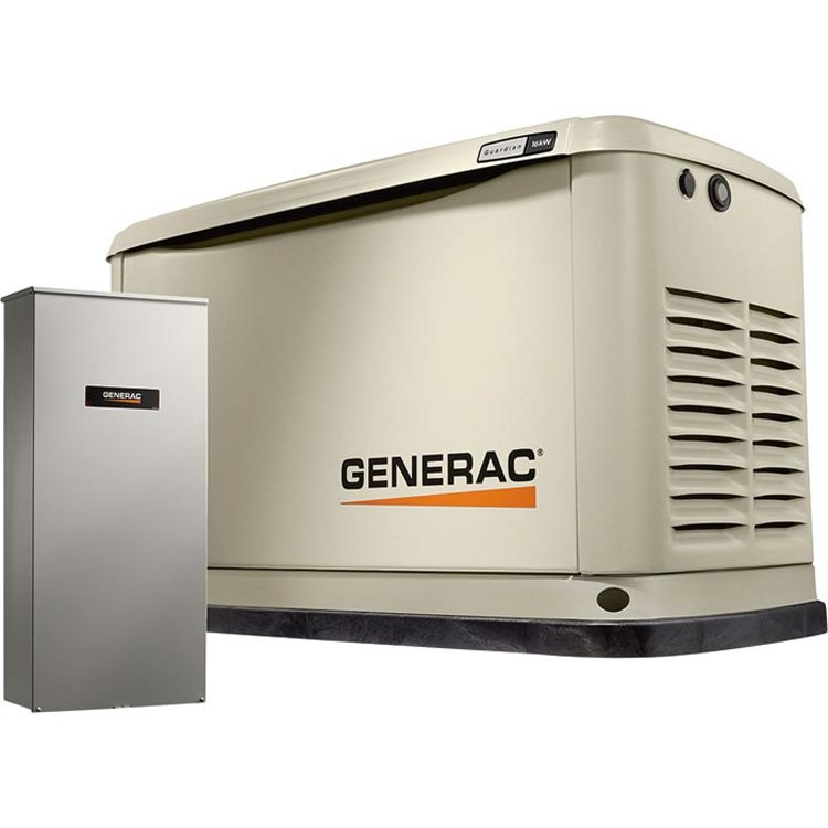 Generac 54317 Guardian Air-Cooled Standby Generator 22kW (LP)/19.5kW (NG), 200 Amp Service-Rated Automatic Transfer Switch 7043