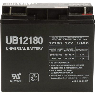 UB12180 UPG Sealed Lead-Acid Battery — AGM-type, 12V, 18 Amps, Model# D5745  42533