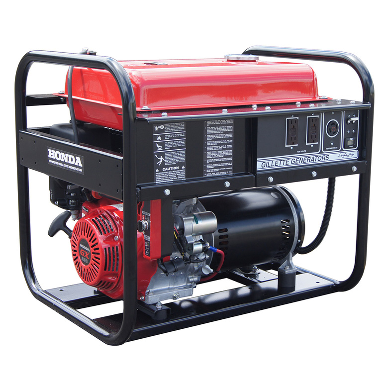 Gillette Generator GPE-75EH-1-1 Industrial Portable Generator 7500 watts 120/240 volts 56/28 Cont Amp Honda GX390 13HP 1 Phase
