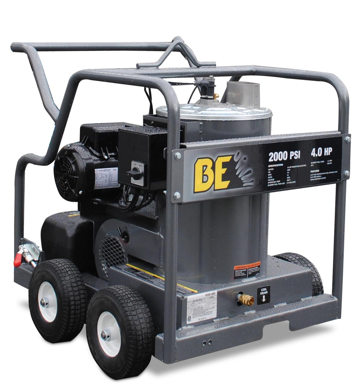BE Pressure HW204EMD Hot Water Pressure Washer Marathon Electric Motor 2000psi 3gpm 230-240 volts Mi-T-M HSE-2003-OMG10 Limited Freight