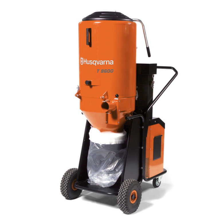 Demo Husqvarna T8600 Ermator 200600404L HEPA Dust And Slurry Concrete Vacuum 353 CFM 480V 3 Phase Used T 8600 967664201B B Rated