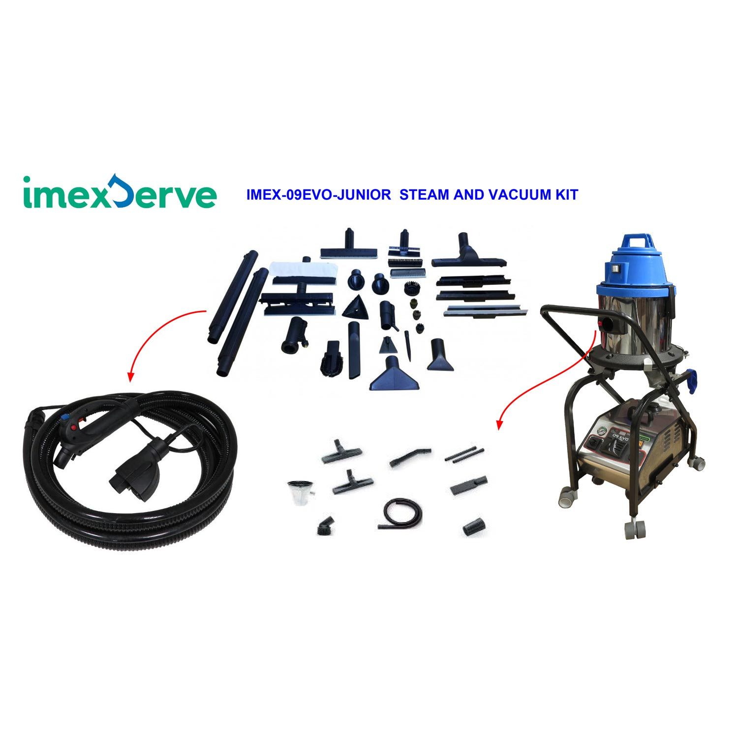 -ImexServe 09Evo Junior Steam & Vacuum Vapor Cleaner W/ Accessories 3200 Watt Dual Heating Elements 100% More Power 18651359 FREE Shipping 87 psi