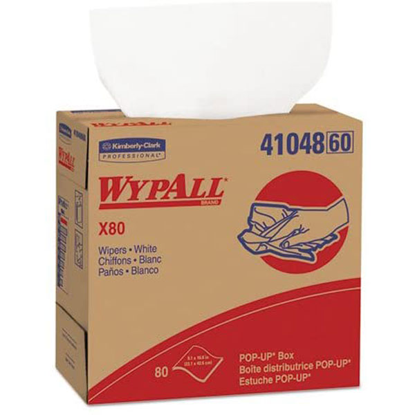 Kimberly Clark KCC41048 Wypall 80 Wipers 9-1/10 X 16-4/5 White Pop-Up Box (March 26 2020 stock 161 units)