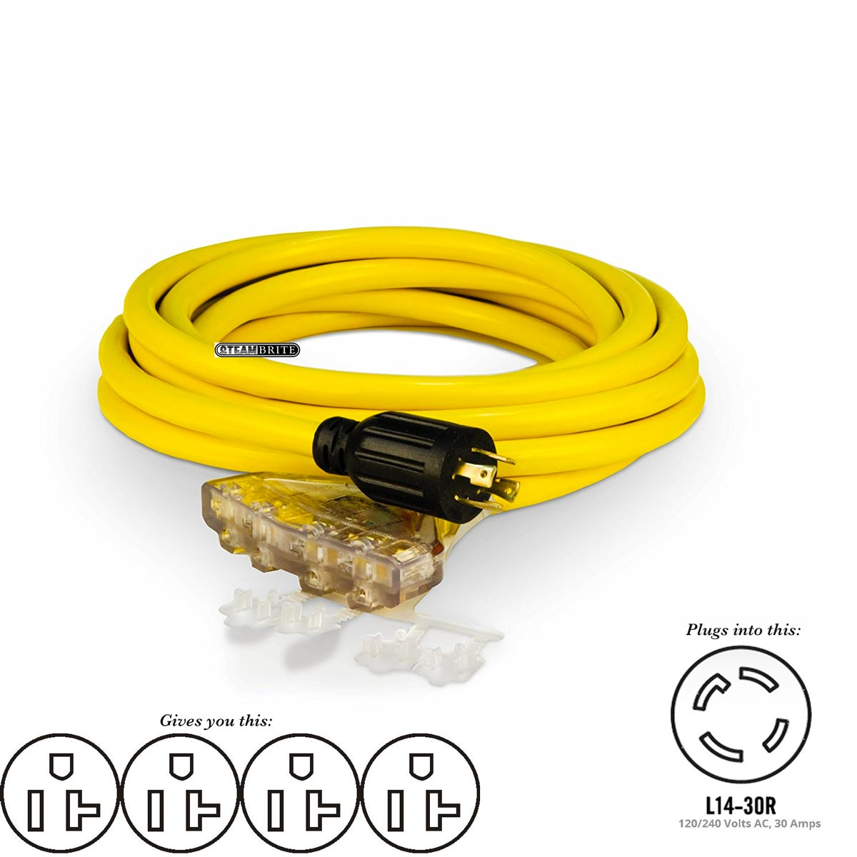 BE Pressure 85.508.003 Champion Power 48036 L14-30P X Four 5-20R Generator 10-3 X 25ft Quad Tap Power Cord Adapter