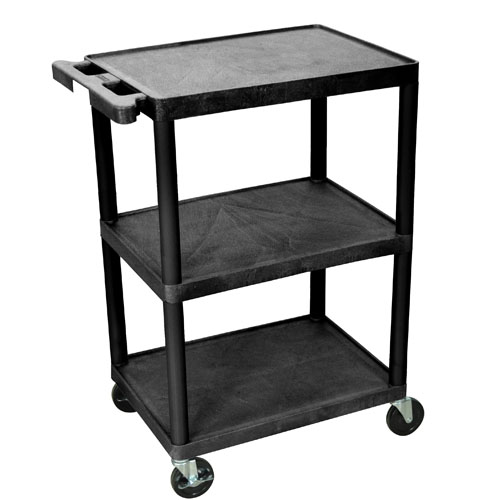 Luxor Three Shelf Utility Cart 34inch black