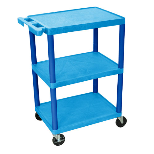 Luxor Three Shelf Utility Cart 34inch blue