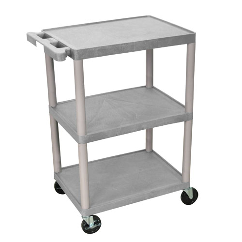 Luxor Three Shelf Utility Cart 34inch grey