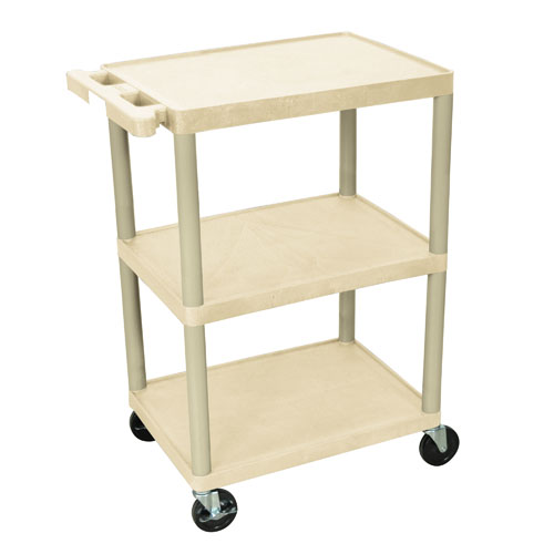 Luxor Three Shelf Utility Cart 34inch putty