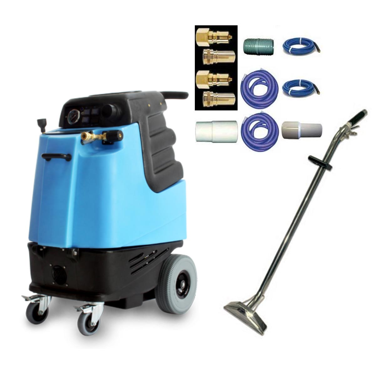 Mytee 1005LX Set Carpet Cleaning Machine 12gal 500psi Dual 6.6 Vacuum Extractor 65 ft Hose Set Wand Chemicals Bundle