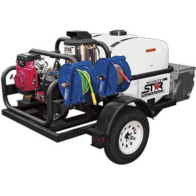 NorthStar 157595: Trailer-Mounted Hot Water Commercial Pressure Washer - 4000 PSI, 4.0 GPM, Honda Engine, 200-Gal. Water Tank FREE Shipping! Forklift Unload ONLY!