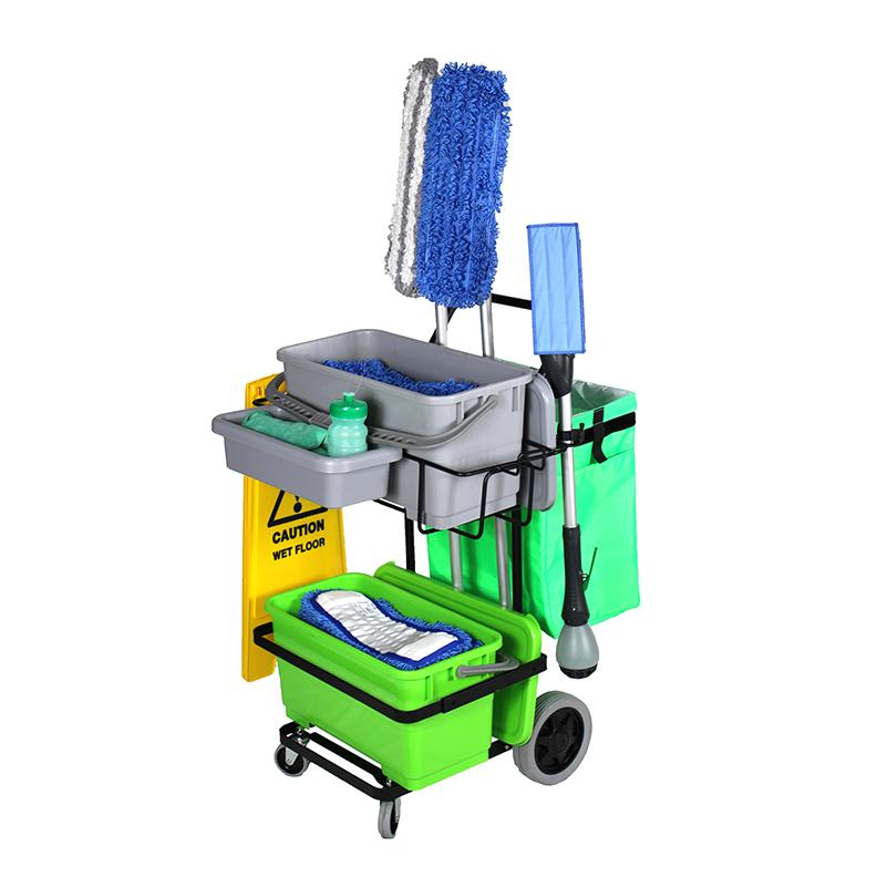 IPC Eagle ONECART200ST-HC2 ONECART 200 START CLEANO - 2 Bucket System & **Cleano Starter Mop Package - Cart with large rear wheels & dual casters. Includes one 6 gal. bucket with lid on the top shelf & one 6 gal. bucket with lid on the bottom shelf, a gar